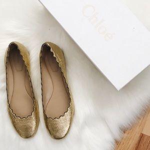 Chloe Lauren Scalloped Leather Ballet Flats 38.5